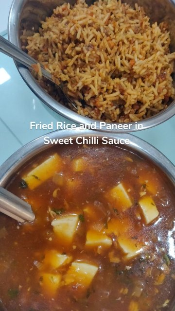 Fried Rice and Paneer in Sweet Chilli Sauce
